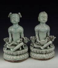 Pair of Chinese Antique Qingbai Glaze Porcelain Boy&Girl Statue