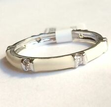 Silver White Enamel Eternity Ring Size 10 Stackable Band Cubic Zirconia USSeller