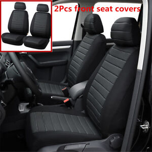 2Pcs Black+Gray Car Seat Covers 5MM Foam Seat Cushion Covers For 2 Front Seats
