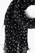 Chan Luu Black White STARS Print Soft Cashmere Silk Scarf Wrap Shawl BRH-SC-451