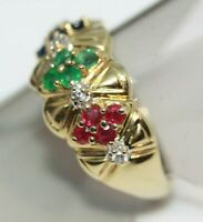 Statement 1.2 ct Genuine Ruby Emerald 14K Real Yellow Gold Women's Ring Size 6