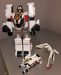 "Rare Mighty Morphin Power Rangers White Tiger Zord 11"" Figure 1994 + Accessories"