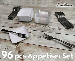 """96 Pcs Amscan Mini Appetiser Set Cute Plates and Forks, White & Clear Plate 2.5"""""""