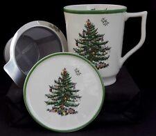 SPODE CHRISTMAS TREE TISANIERE TEA INFUSER MUG COASTER