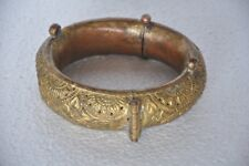 Old Copper Gold Plated Inlay Embossed Jali Cut Solid Horse Foot Anklet