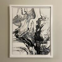 Black & White abstract original modern acrylic canvas painting | free shipping