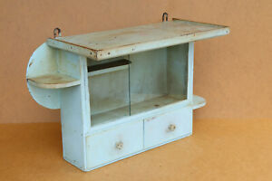 Antique Vintage Wooden Medical Box First Aid Chest Cupboard Shelf Rustic 1950's