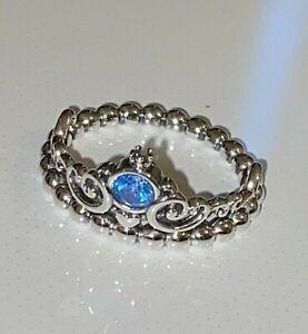 Original Pandora Disney Cinderella Blue Tiara Ring,,S925 ALE + 2 Month Warranty