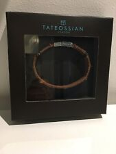 BNIB Tateossian London Brown Real Leather And Steel Bracelet Medium M