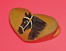 "Vintage Wood Piece W/Horse Head Handpainted-Buckle-Neckla ce-3.75"" Long-2.5"" High"