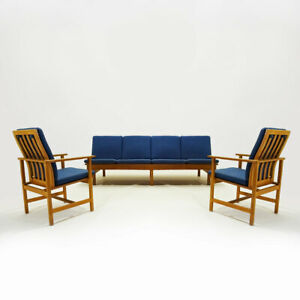 Danish Mid century Børge Mogensen 4 seater Oak bench sofa and two armchairs.