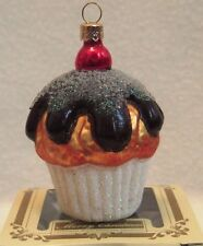 IMPULS Christmas Polish Mouth-Blown Hand-Painted Cupcake Ornament w/Sparkles