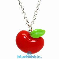FUNKY RED APPLE NECKLACE CUTE KITSCH RETRO KAWAII FRUIT SNOW WHITE FANCY DRESS