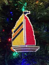 Handmade Cross Stitch Home Decoration Christmas Ornament-Sailboat-Saling-Boat