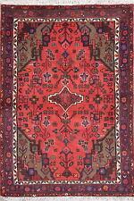 Spectacular Geometric Crimson Hamadan Oriental Hand-Knotted 3x5 Wool Rug