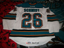 Adam Schmidt #26 Worcester Sharks AHL White 2013-14 Game Worn Jersey