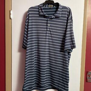 Peter Millar Summer Comfort Polo Shirt Blue Striped Men's Size XXL