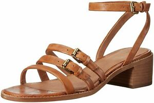 New $258 Frye Cindy Buckle Strappy Camel Brown Leather Sandals Shoes 8 M