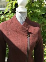 Brora 100%WOOL JACKET SILK LINED BIKER STYLE ~ Perfect Condition ~ Size 8