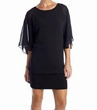 MSK NWT $74 Solid Black Sheer Chiffon Bat Sleeve Tunic Little Dress Women's M