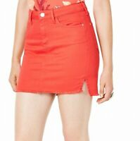 Guess Womens Talia Denim Bodycon Mini Skirt Tomato Red Large L Raw Hem $69 201