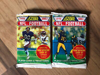 1990 SCORE NFL FOOTBALL Lot of (2) UNOPENED PACK SERIES 1 (Possible Seau RC)