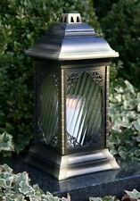 Grablaterne Grablampe Grabschmuck Grableuchte Bronze inkl. Grablicht Grabkerze
