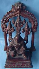 HINDU LORD VISHNU STANDING ON GARUDA WITH HIS WIVES BEAUTIFUL BRASS STATUE IDOL