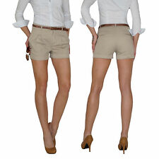 Damen Chino Shorts Hot Pants Sommer Hose Bermuda Safari Bundfalten Jeans E69 e47bc52b95