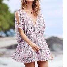 Victoria's Secret Plunge Caftan Swimsuit Beach Cover-Up Cold Shoulder L  $79 NEW