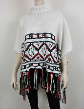 MARC NEW YORK Knitted Tassel Poncho Turtleneck Loose Bat Nordic Ivory OS