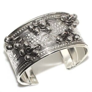 Vintage Cluster 925 Silver Plated Handmade Cuff Adjustable Bangle Ethnic Gift GW