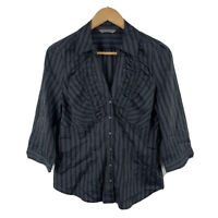 Jacqui E Womens Blouse Size 12 Black Grey Pinstripe 3/4 Sleeve
