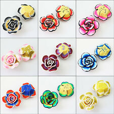 2Pcs Polymer Fimo Clay Flower Spacer Beads Charms Black Red Purple Blue etc.40mm