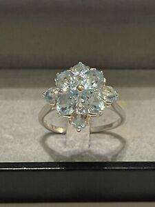 Silber Ring Aquamarin Kronenring Krönchen Blume Edelstein 925 Silber rar Vintage