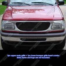 Fits 99-01 Ford Explorer Black Billet Grille Grill Combo Insert