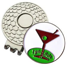 1 x New Magnetic Hat Clip + Martini Golf Ball Marker - For Golf Hat or Visor