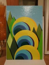 Colourful Abstract Cubist Style Landscape Oil Painting - Signed