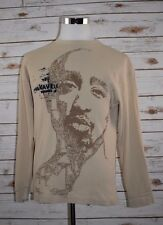 MAKAVELI Tupac Shakur Mens Long Sleeve Thermal T-Shirt Beige Size Large Shirt