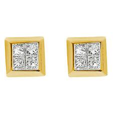 0.50 Ct Princess Cut Diamond Men's Women's Stud Earrings 14k Gold Yellow G VS1