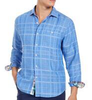 Tommy Bahama Mens Shirt Cobalt Sea Blue Medium M Sand Dunes Button Down $125 122