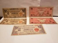 Philippines 5 different old notes VG-VF