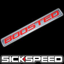 CHROME/RED METAL BOOSTED ENGINE RACE MOTOR SWAP BADGE FOR TRUNK HOOD DOOR