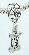 European Bead Dog Bone Slider Charm for European Style Bracelets