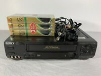 SONY SLV-N60 VCR VHS Player Video Cassette Recorder w/ Cables & Tapes No Remote