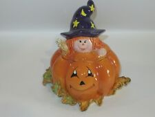 Halloween WITCH PUMPKIN Covered Ceramic Candy Dish - NEW