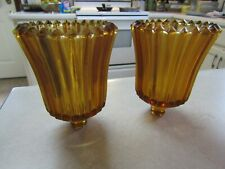 Vintage MCM Amber Ribbed Ridged Glass Peg Votive Cups Candle Holders