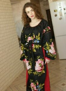 Vita kin style vyshyvanka, velvet rose dress XS-XL made to order