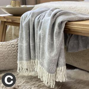 Luxury Woollen Feel Bumble Bee Dove Grey Fringed Large Bed Sofa Blanket Throw