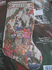 Christmas Bucilla Counted Cross Stocking KIT,WAITING FOR SANTA,Rossi,Dogs,84791
